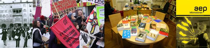 Fotocollage mit Bildern von aep-Aktionen und der Zeitschrift aep informationen