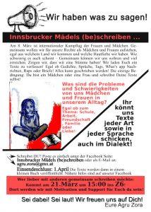 Innsbrucker Mädels (be)schreiben - Agru Zora