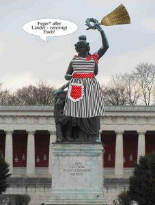 Fotomontage Statue mit aufgeklebter Schürze und Besen